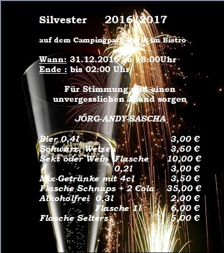 Camping Ostsee Silvester 2016/17